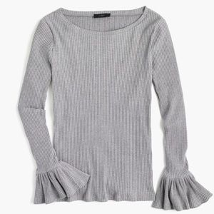 J. Crew Grey Ribbed Crew Sweater w/ Bell Sleeves